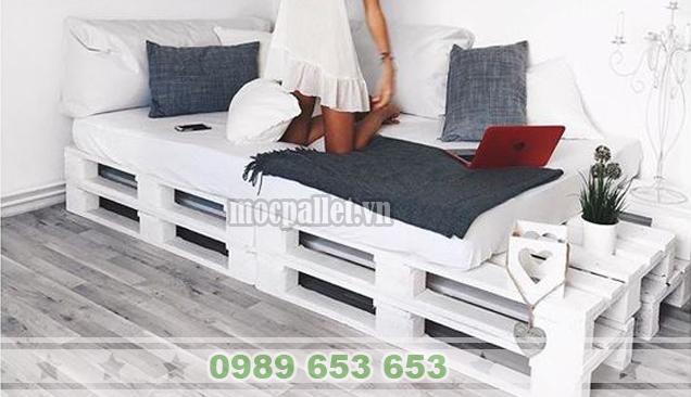 Giường ngủ gỗ thông pallet GN24