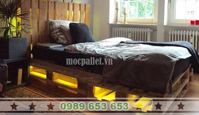 Giường ngủ gỗ thông pallet GN30