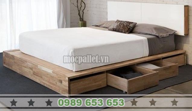 Giường ngủ gỗ thông pallet GN26