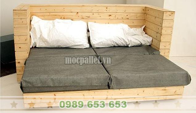 Giường ngủ gỗ thông pallet GN35