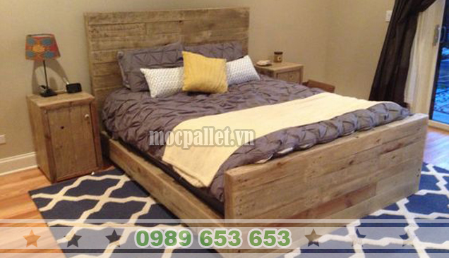 Giường ngủ gỗ thông pallet GN27