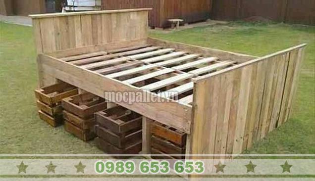 Giường ngủ gỗ thông pallet GN28