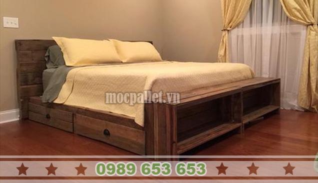 Giường ngủ gỗ thông pallet GN32