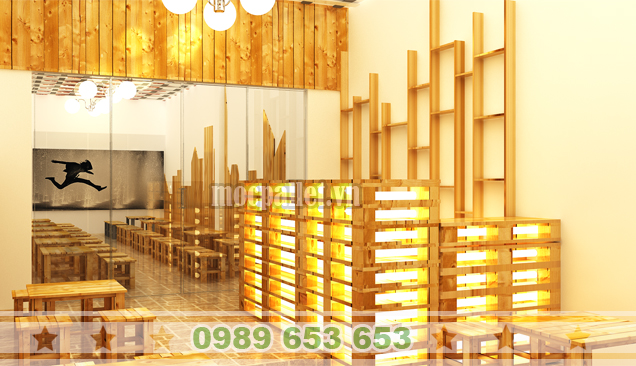 Quầy bar gỗ thông pallet QB30
