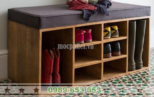 Kệ để giày dép gỗ thông pallet KG24