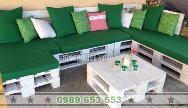 Bộ bàn ghế sofa phòng khách gỗ thông pallet PK11
