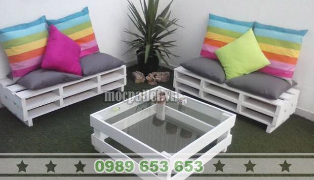 Bộ bàn ghế phòng khách gỗ thông pallet PK09