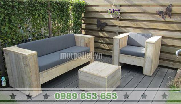 Bộ bàn ghế phòng khách gỗ thông pallet PK13