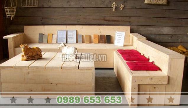 Bộ bàn ghế phòng khách gỗ thông pallet PK12