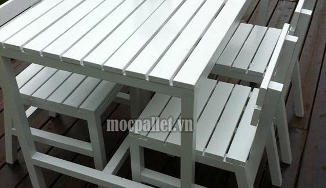 Bộ bàn ghế ăn cơm gỗ thông pallet PA05