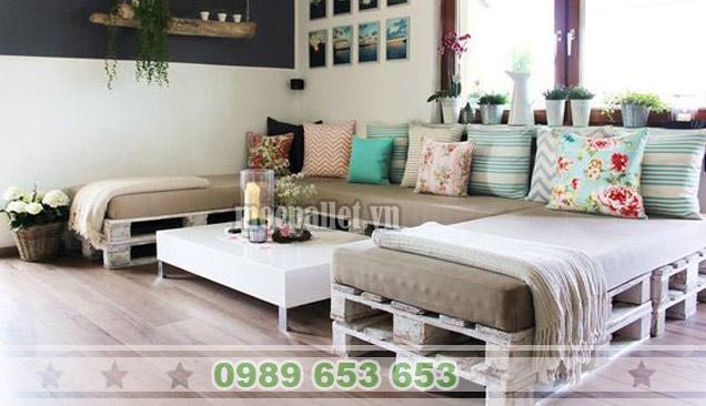 Bộ bàn ghế phòng khách gỗ thông pallet PK10