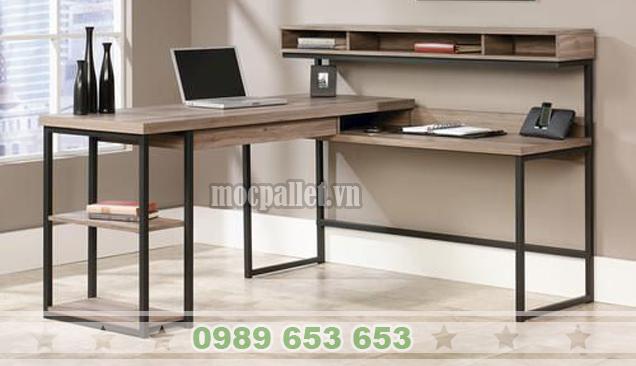 Bàn làm việc văn phòng gỗ thông pallet BLV 09
