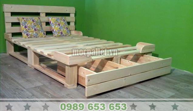 Giường ngủ gỗ thông pallet GN39