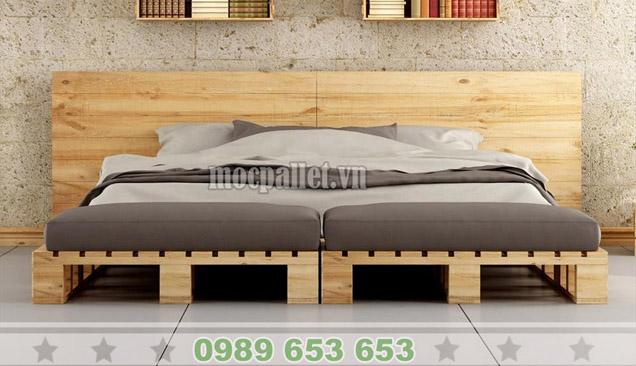 Giường ngủ gỗ thông pallet GN40