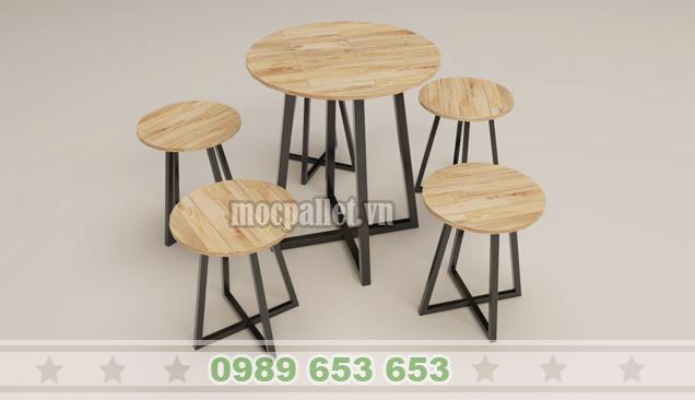 Bộ bàn ghế chân sắt BGS115