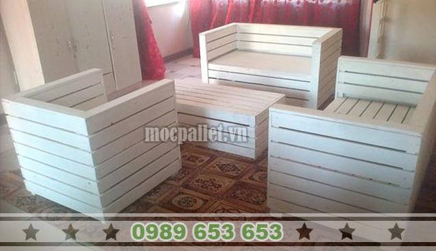 Bộ bàn ghế phòng khách gỗ thông pallet PK14