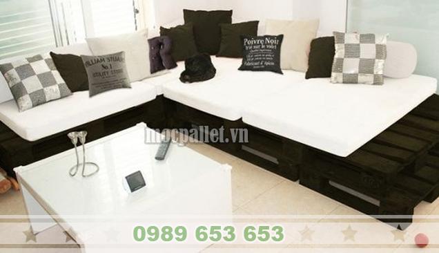 Bộ bàn ghế phòng khách gỗ thông pallet PK15