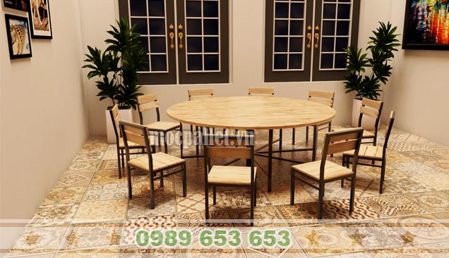 Bộ bàn ghế gỗ thông pallet chân sắt BGS114