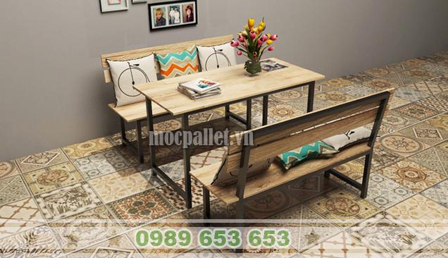 Top 5 mẫu bàn ghế chân sắt mặt gỗ thông mới nhất hiện nay