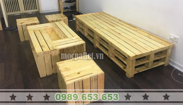 Bộ bàn ghế phòng khách gỗ thông pallet PK16