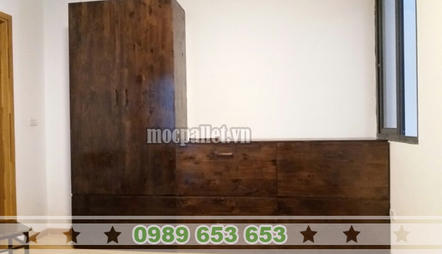 Tủ gỗ thông pallet TG09