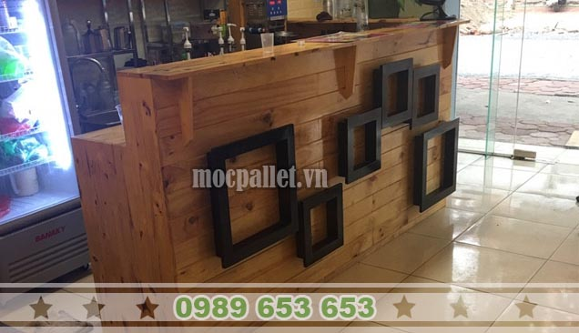 Quầy bar gỗ thông pallet QB39