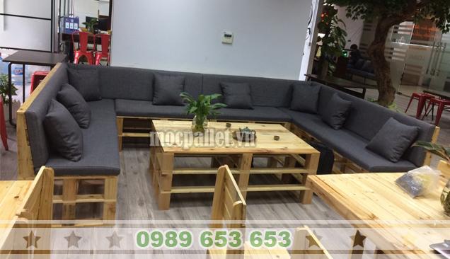 Bộ bàn ghế phòng khách gỗ thông pallet PK21