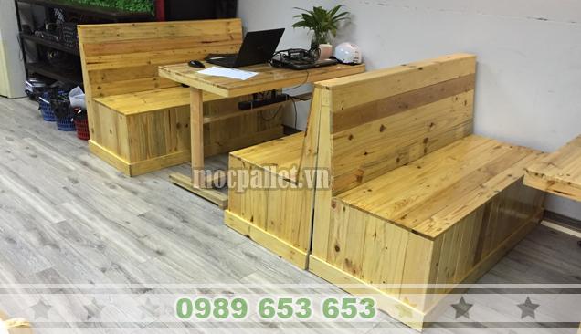 Bộ bàn ghế gỗ thông pallet BG106