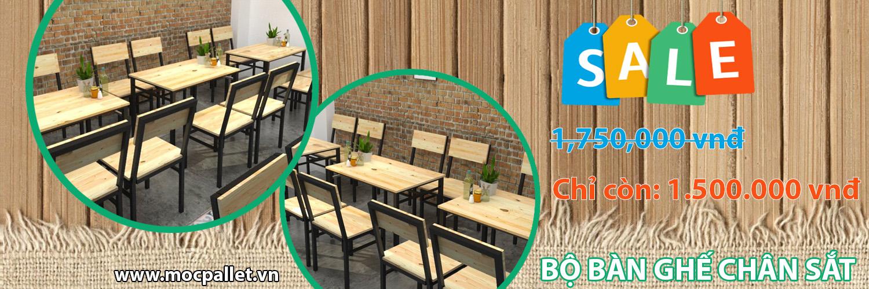Bàn ghế gỗ thông pallet cho nhà hàng GIẢM GIÁ CỰC SỐC chỉ còn 1.500.000vnđ/Bộ