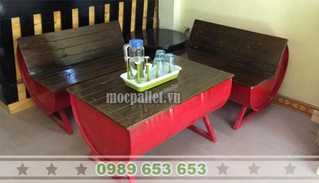 Bộ bàn ghế thùng phi sắt TP87