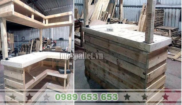 Quầy bar gỗ thông pallet QB44
