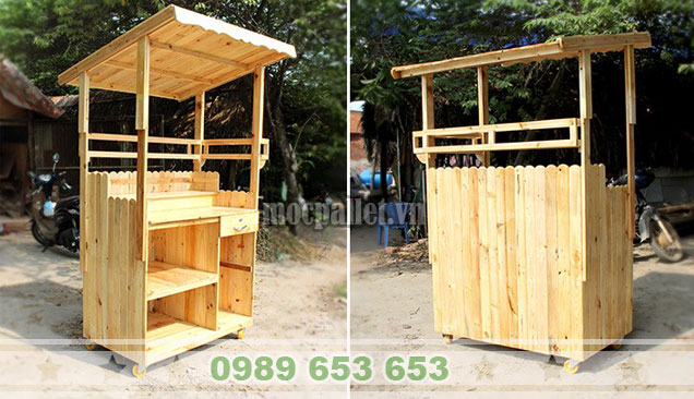 Quầy bar gỗ thông pallet QB49