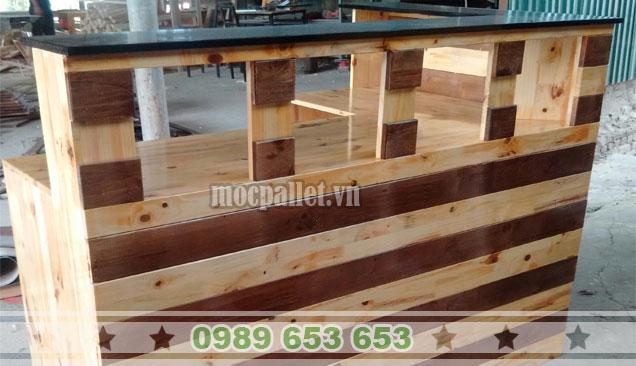 Quầy bar gỗ thông pallet QB48