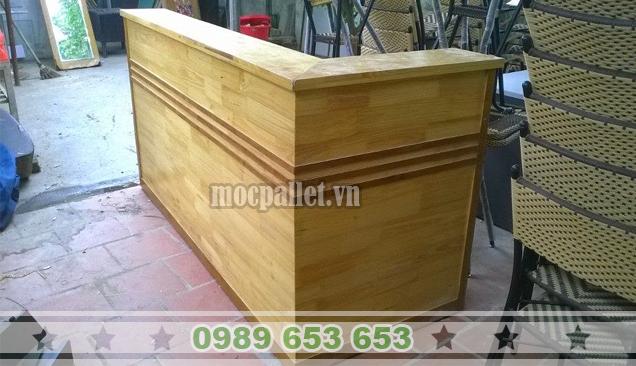 Quầy pha chế cafe gỗ thông pallet QB56