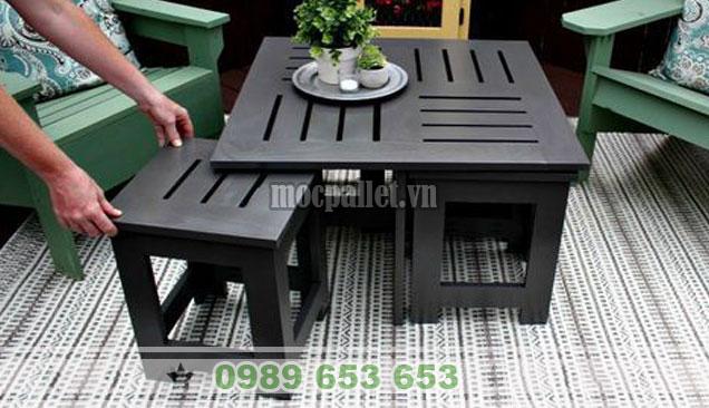 Bộ bàn 4 ghế gỗ thông xếp gọn BG109