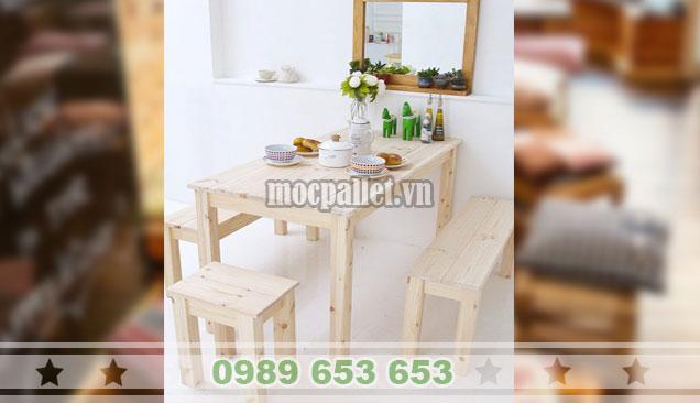 Bộ bàn ghế ăn chân gỗ thông trang trí BG109