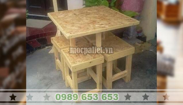 Bộ bàn 4 ghế xếp gọn mặt ván 3D BG110