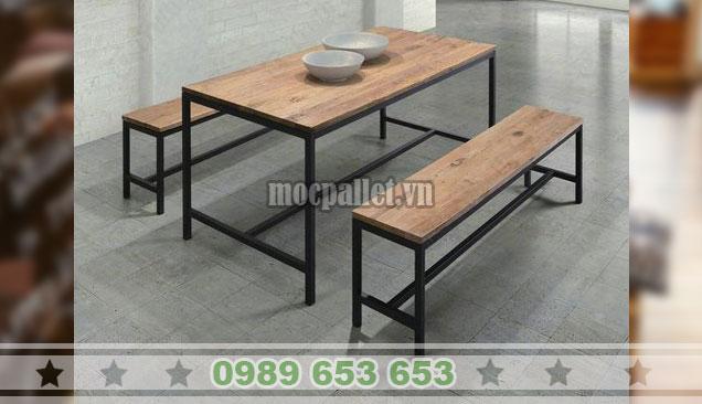Bộ bàn ghế dài chân sắt BGS138