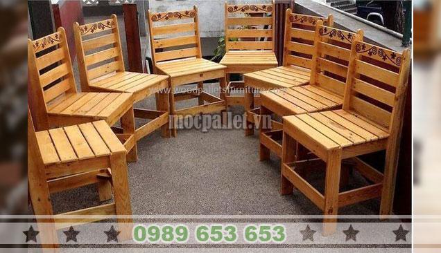 Ghế gỗ thông trang trí hoạ tiết khắc Laser BG111