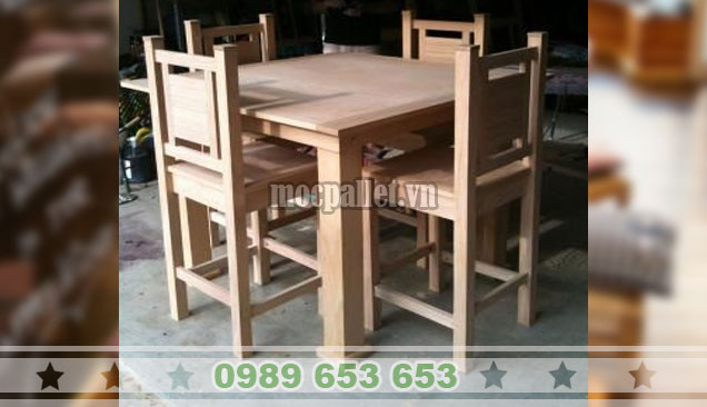 Bộ bàn ghế phòng ăn gỗ thông nhập khẩu Newzealand BG113