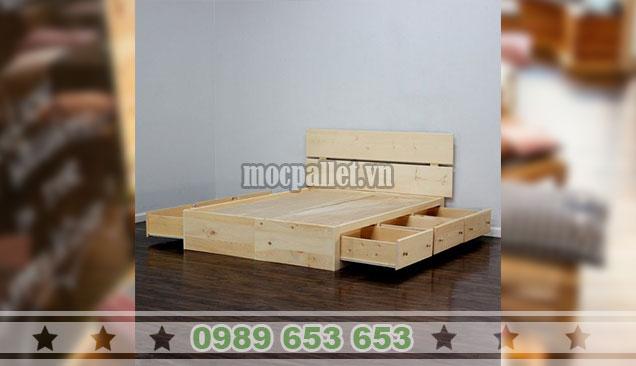Giường ngủ gỗ thông GN113