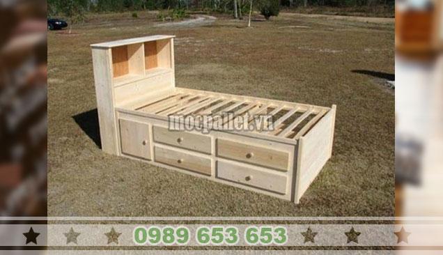 Giường ngủ gỗ thông pallet GN104