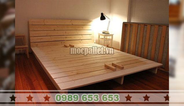 Giường ngủ gỗ thông pallet GN117
