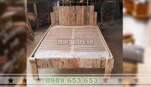 Giường ngủ gỗ thông pallet GN118