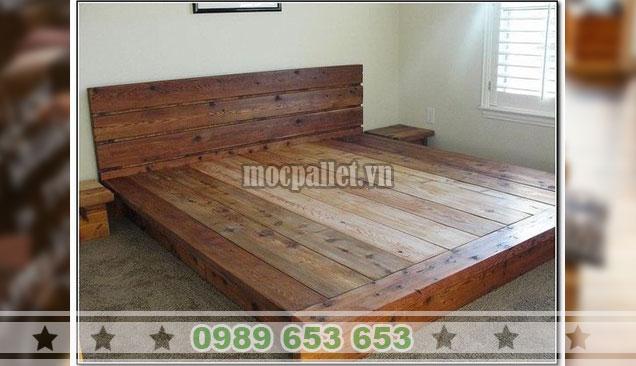 Mẫu giường gỗ thông GN121