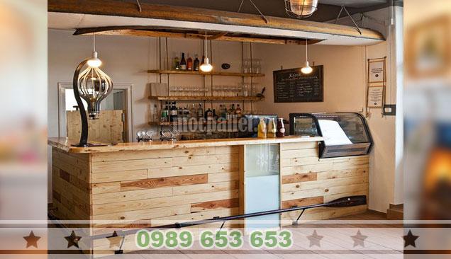 Mẫu quầy pha chế gỗ thông cho nhà hàng QB65
