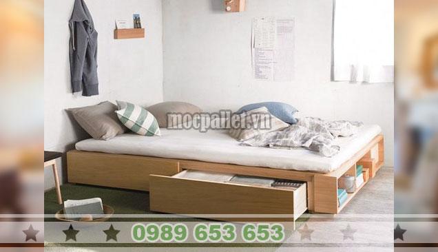 Mẫu giường hộp gỗ thông có ngăn kéo GH02