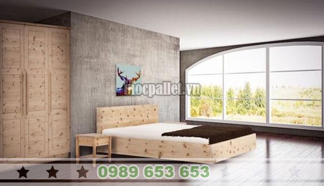Mẫu giường hộp gỗ thông đơn giản GH04