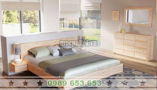 Mẫu giường hộp gỗ thông 1m8x2m GH05