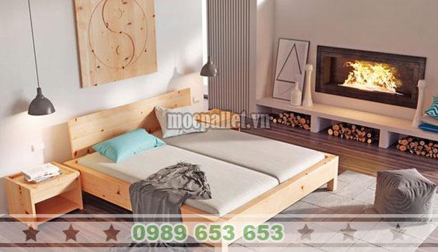 Mẫu giường hộp gỗ thông đơn GH012